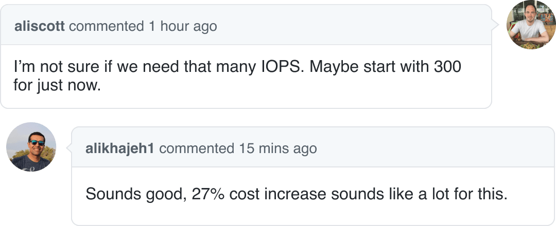 Discussion about cost impact of pull request